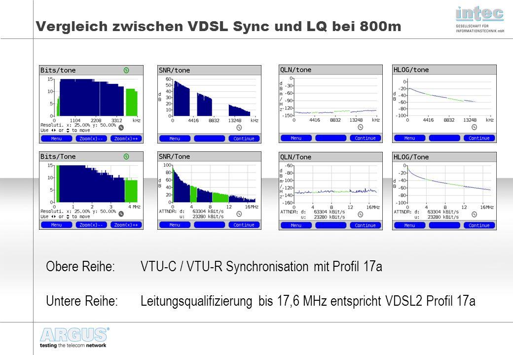 Vergleich zwischen VDSL Sync und LQ bei 800m Obere Reihe: VTU-C / VTU-R Synchronisation mit Profil 17a Untere Reihe:Leitungsqualifizierung bis 17,6 MHz entspricht VDSL2 Profil 17a