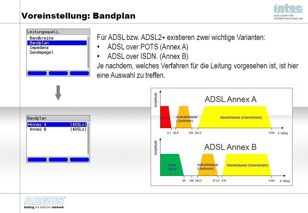 Voreinstellung: Bandplan Für ADSL bzw. ADSL2+ existieren zwei wichtige Varianten: ADSL over POTS (Annex A) ADSL over ISDN. (Annex B) Je nachdem, welch