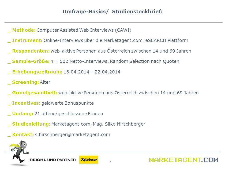 Umfrage-Basics/ Studiensteckbrief: 2 _ Methode: Computer Assisted Web Interviews (CAWI) _ Instrument: Online-Interviews über die Marketagent.com reSEA
