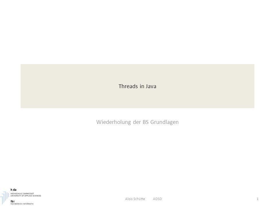 Threads in Java Wiederholung der BS Grundlagen Alois Schütte AOSD1
