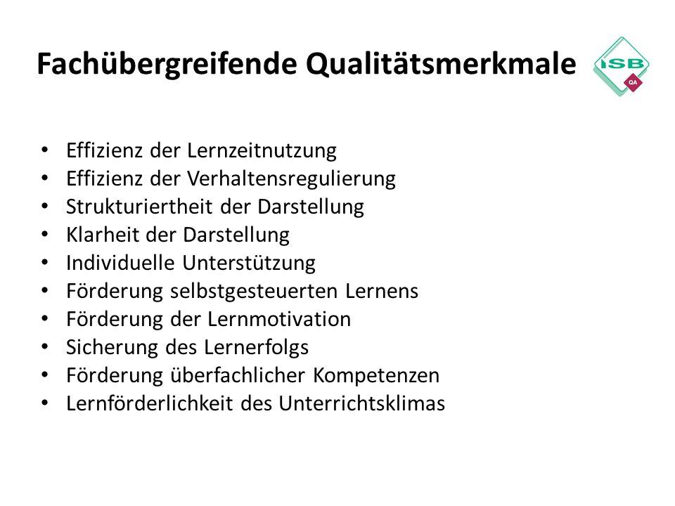 Fachübergreifende Qualitätsmerkmale Effizienz der Lernzeitnutzung Effizienz der Verhaltensregulierung Strukturiertheit der Darstellung Klarheit der Da