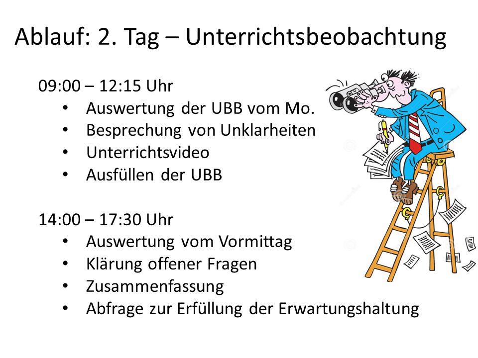 Ablauf: 2. Tag – Unterrichtsbeobachtung 09:00 – 12:15 Uhr Auswertung der UBB vom Mo. Besprechung von Unklarheiten Unterrichtsvideo Ausfüllen der UBB 1