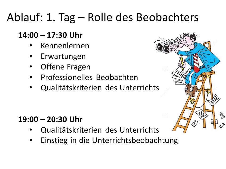 Ablauf: 1. Tag – Rolle des Beobachters 14:00 – 17:30 Uhr Kennenlernen Erwartungen Offene Fragen Professionelles Beobachten Qualitätskriterien des Unte