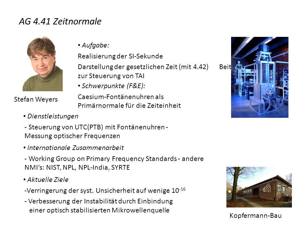 Stefan Weyers Aufgabe: Realisierung der SI-Sekunde Darstellung der gesetzlichen Zeit (mit 4.42) Beiträge zur Steuerung von TAI Schwerpunkte (F&E): Cae