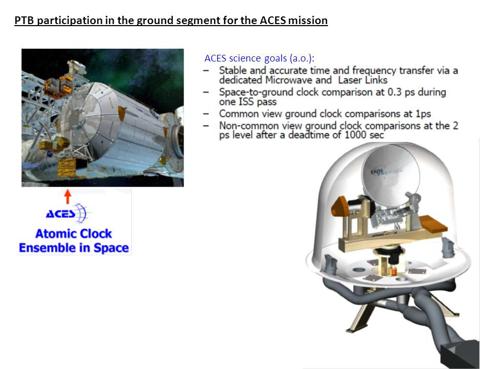 PTB participation in the ground segment for the ACES mission ACES science goals (a.o.):