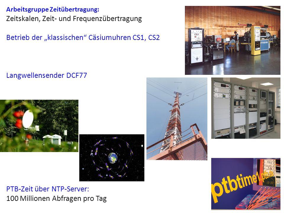 """Arbeitsgruppe Zeitübertragung: Zeitskalen, Zeit- und Frequenzübertragung Betrieb der """"klassischen Cäsiumuhren CS1, CS2 Langwellensender DCF77 PTB-Zeit über NTP-Server: 100 Millionen Abfragen pro Tag"""