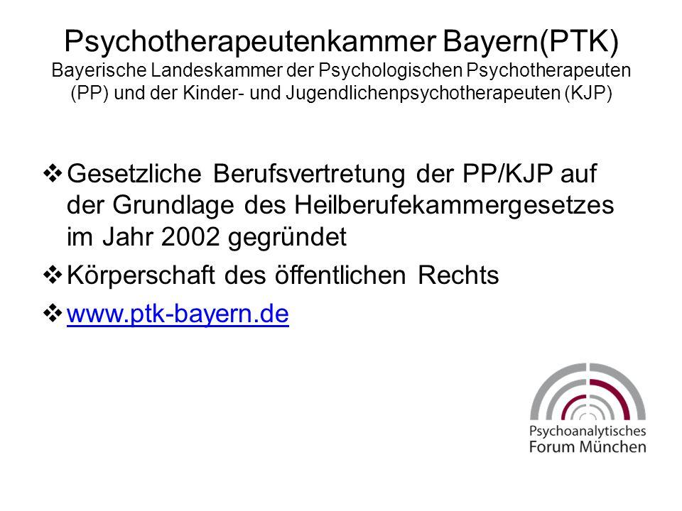 Psychotherapeutenkammer Bayern(PTK) Bayerische Landeskammer der Psychologischen Psychotherapeuten (PP) und der Kinder- und Jugendlichenpsychotherapeuten (KJP)  Gesetzliche Berufsvertretung der PP/KJP auf der Grundlage des Heilberufekammergesetzes im Jahr 2002 gegründet  Körperschaft des öffentlichen Rechts  www.ptk-bayern.de www.ptk-bayern.de