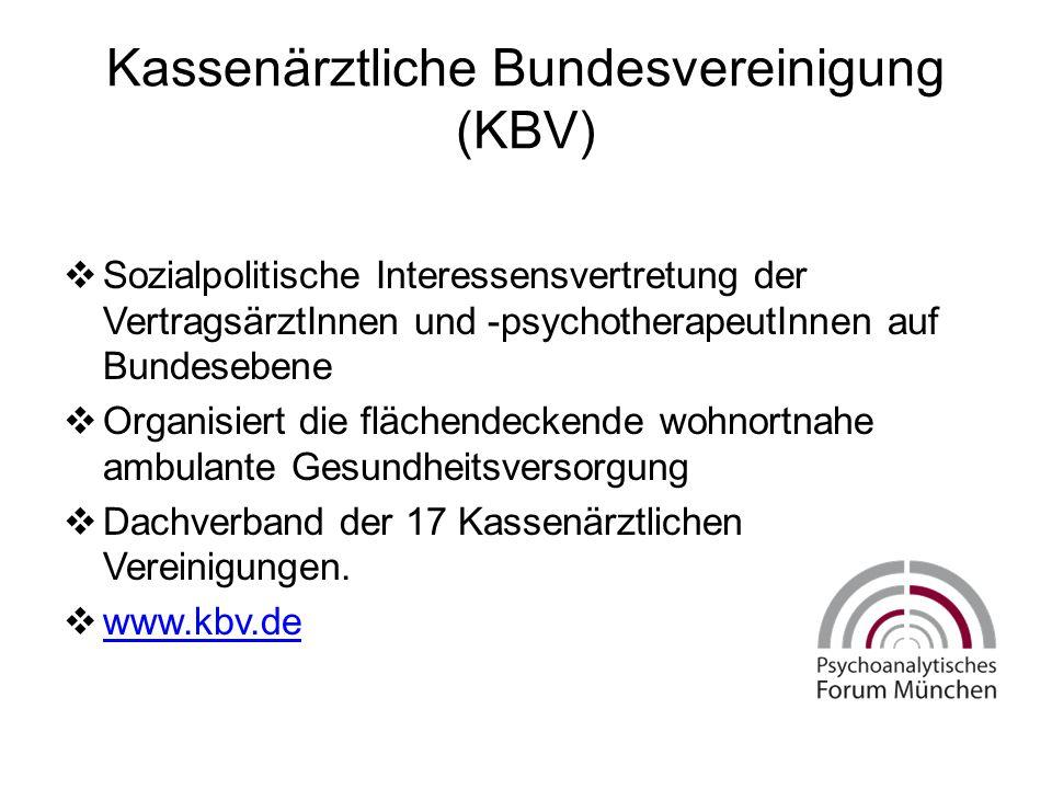 Kassenärztliche Bundesvereinigung (KBV)  Sozialpolitische Interessensvertretung der VertragsärztInnen und -psychotherapeutInnen auf Bundesebene  Organisiert die flächendeckende wohnortnahe ambulante Gesundheitsversorgung  Dachverband der 17 Kassenärztlichen Vereinigungen.