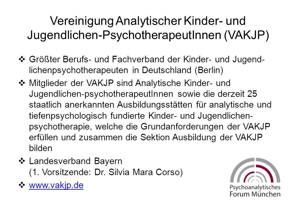 Vereinigung Analytischer Kinder- und Jugendlichen-PsychotherapeutInnen (VAKJP)  Größter Berufs- und Fachverband der Kinder- und Jugend- lichenpsychotherapeuten in Deutschland (Berlin)  Mitglieder der VAKJP sind Analytische Kinder- und Jugendlichen-psychotherapeutInnen sowie die derzeit 25 staatlich anerkannten Ausbildungsstätten für analytische und tiefenpsychologisch fundierte Kinder- und Jugendlichen- psychotherapie, welche die Grundanforderungen der VAKJP erfüllen und zusammen die Sektion Ausbildung der VAKJP bilden  Landesverband Bayern (1.