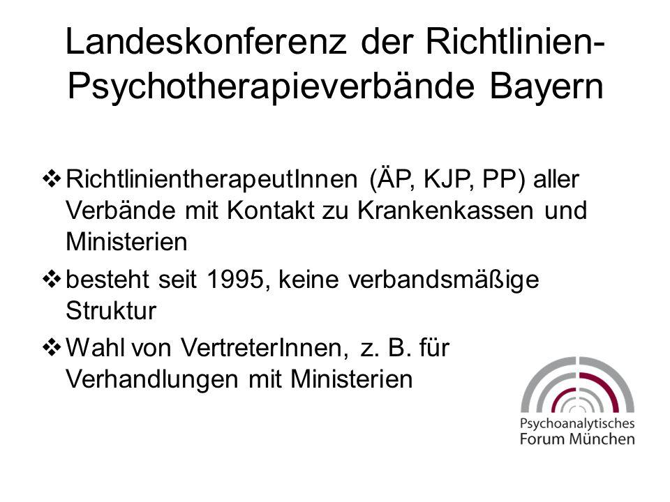Landeskonferenz der Richtlinien- Psychotherapieverbände Bayern  RichtlinientherapeutInnen (ÄP, KJP, PP) aller Verbände mit Kontakt zu Krankenkassen und Ministerien  besteht seit 1995, keine verbandsmäßige Struktur  Wahl von VertreterInnen, z.
