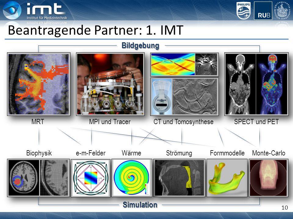 10 Beantragende Partner: 1. IMT CT und Tomosynthese Biophysik MPI und Tracer Bildgebung SPECT und PET Simulation e-m-FelderWärmeStrömungFormmodelleMon