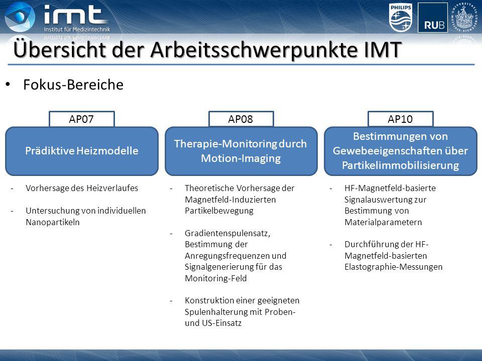 Prädiktive Heizmodelle Therapie-Monitoring durch Motion-Imaging Bestimmungen von Gewebeeigenschaften über Partikelimmobilisierung Übersicht der Arbeit
