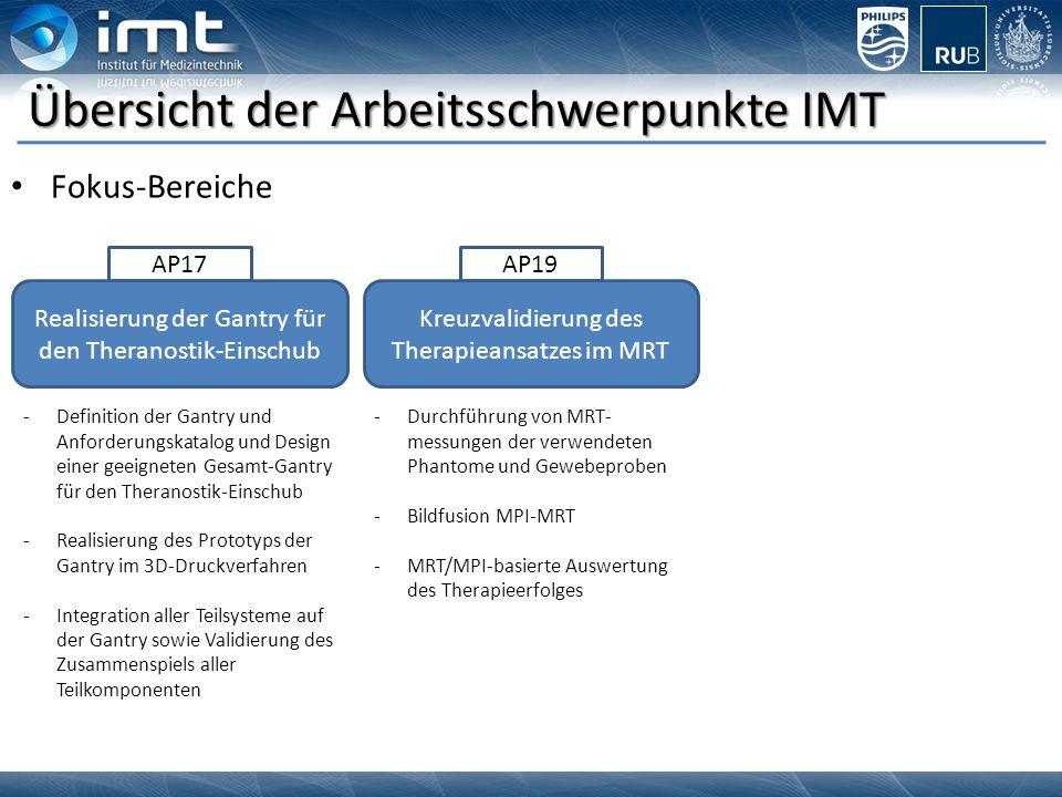 Übersicht der Arbeitsschwerpunkte IMT Fokus-Bereiche Realisierung der Gantry für den Theranostik-Einschub AP17 Kreuzvalidierung des Therapieansatzes i