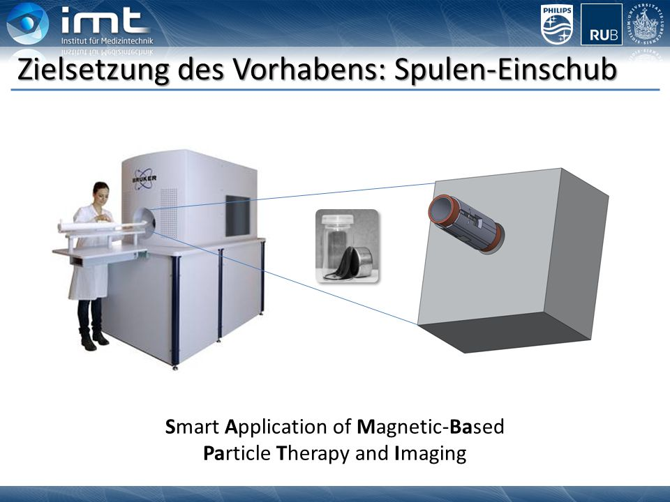 Application of nonhazardous tracer Imaging of the tracer with magnetic fields Magnetic Particle Imaging Fast tomographic imaging without ionizing radiation  Images in courtesy of Philips Research, Hamburg