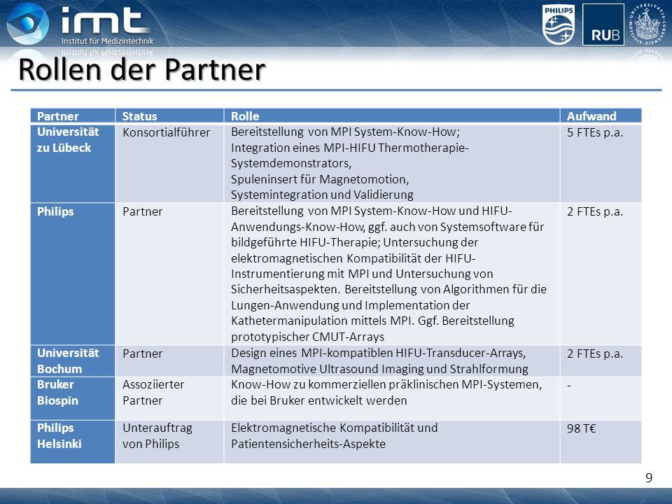 9 Rollen der Partner PartnerStatusRolleAufwand Universität zu Lübeck KonsortialführerBereitstellung von MPI System-Know-How; Integration eines MPI-HIF