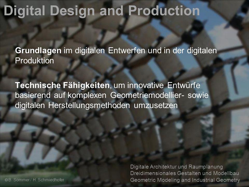 2 Digitale Architektur und Raumplanung Dreidimensionales Gestalten und Modellbau Geometric Modeling and Industrial Geometry Digital Design and Production  B.