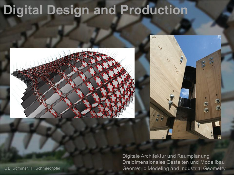 2 Digitale Architektur und Raumplanung Dreidimensionales Gestalten und Modellbau Geometric Modeling and Industrial Geometry Digital Design and Production  B.
