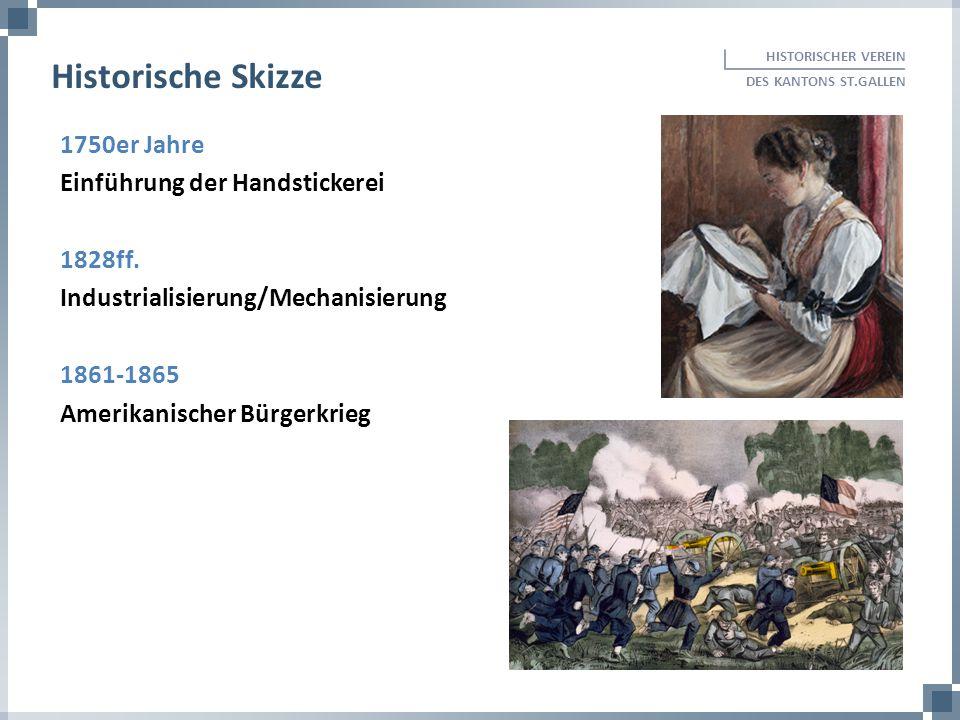 1750er Jahre Einführung der Handstickerei 1828ff. Industrialisierung/Mechanisierung 1861-1865 Amerikanischer Bürgerkrieg HISTORISCHER VEREIN DES KANTO