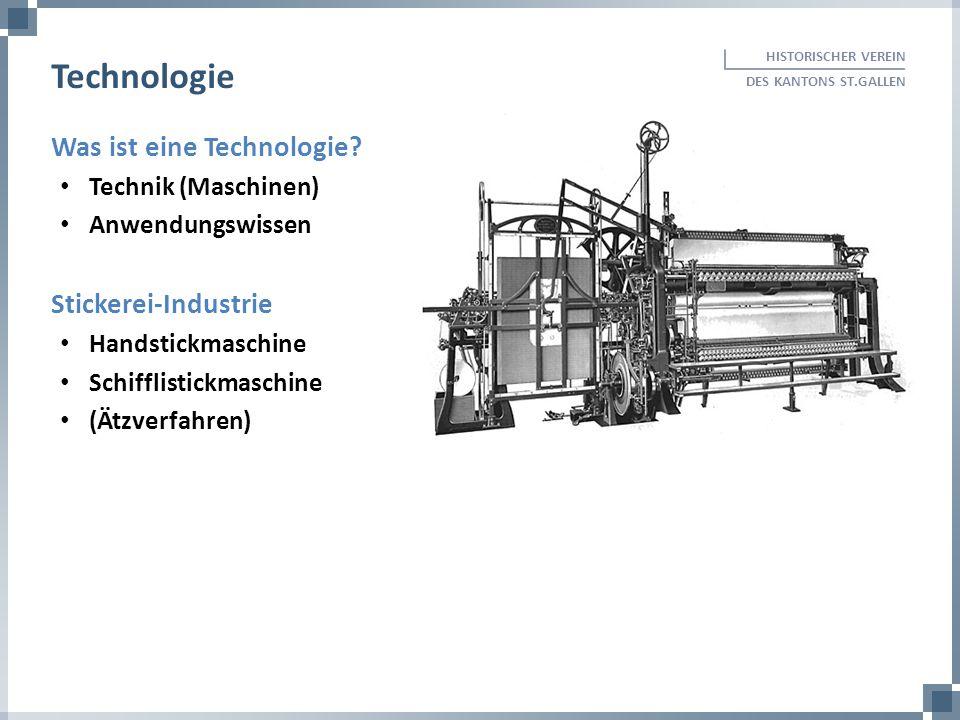 Was ist eine Technologie? Technik (Maschinen) Anwendungswissen Stickerei-Industrie Handstickmaschine Schifflistickmaschine (Ätzverfahren) HISTORISCHER