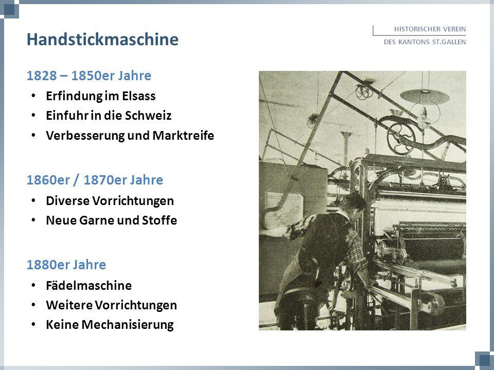 1828 – 1850er Jahre Erfindung im Elsass Einfuhr in die Schweiz Verbesserung und Marktreife 1860er / 1870er Jahre Diverse Vorrichtungen Neue Garne und