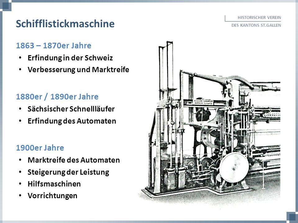 1863 – 1870er Jahre Erfindung in der Schweiz Verbesserung und Marktreife 1880er / 1890er Jahre Sächsischer Schnellläufer Erfindung des Automaten 1900e