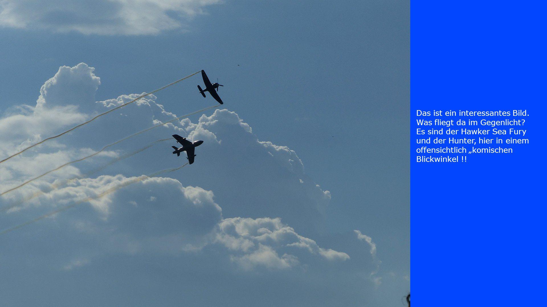 """Das ist ein interessantes Bild. Was fliegt da im Gegenlicht? Es sind der Hawker Sea Fury und der Hunter, hier in einem offensichtlich """"komischen Blick"""