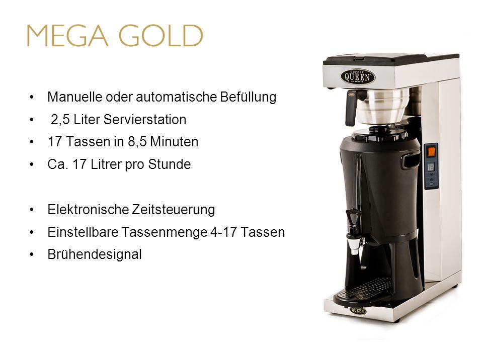 Manuelle oder automatische Befüllung 2,5 Liter Servierstation 17 Tassen in 8,5 Minuten Ca.