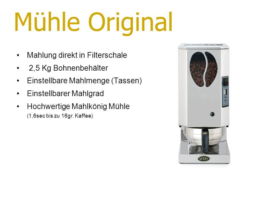 Mühle Original Mahlung direkt in Filterschale 2,5 Kg Bohnenbehälter Einstellbare Mahlmenge (Tassen) Einstellbarer Mahlgrad Hochwertige Mahlkönig Mühle (1,6sec bis zu 16gr.