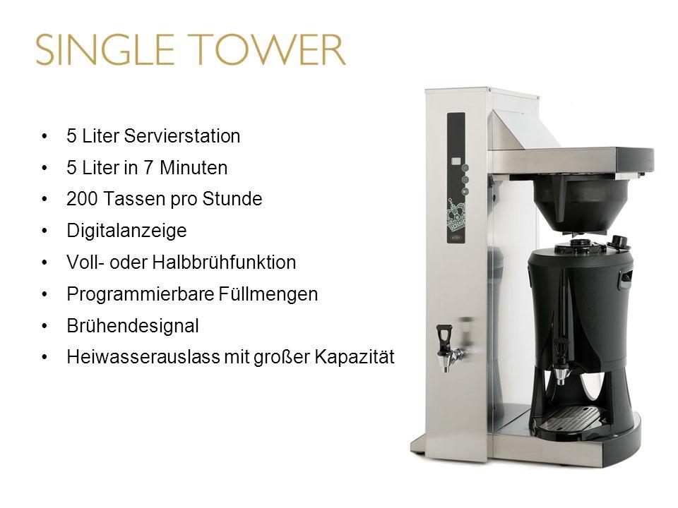 5 Liter Servierstation 5 Liter in 7 Minuten 200 Tassen pro Stunde Digitalanzeige Voll- oder Halbbrühfunktion Programmierbare Füllmengen Brühendesignal