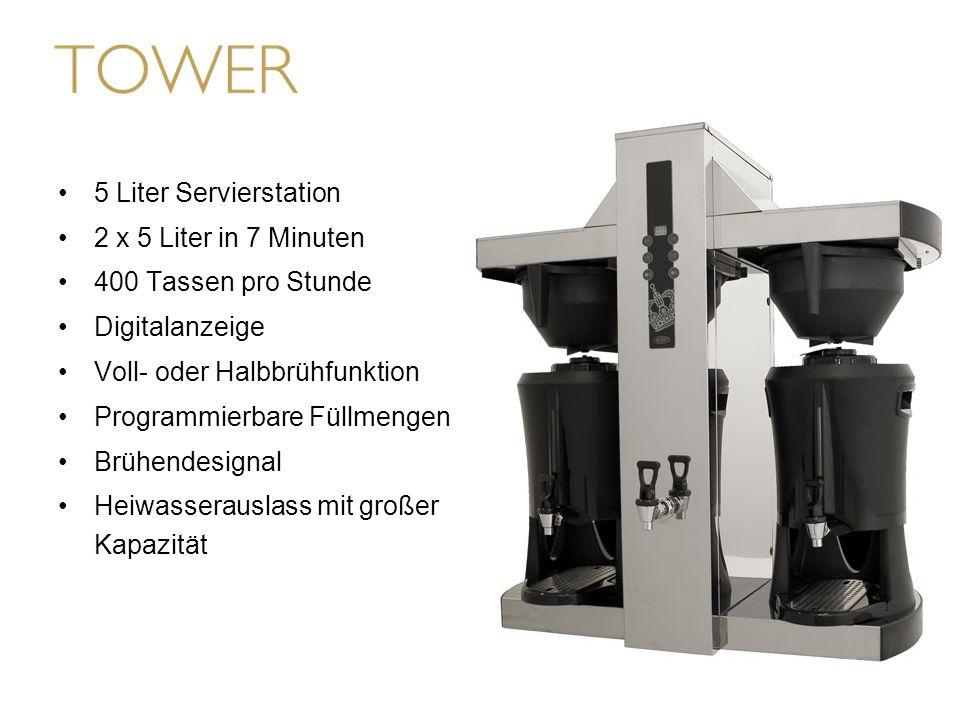 5 Liter Servierstation 2 x 5 Liter in 7 Minuten 400 Tassen pro Stunde Digitalanzeige Voll- oder Halbbrühfunktion Programmierbare Füllmengen Brühendesi