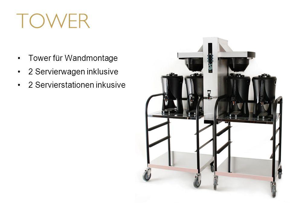 Tower für Wandmontage 2 Servierwagen inklusive 2 Servierstationen inkusive