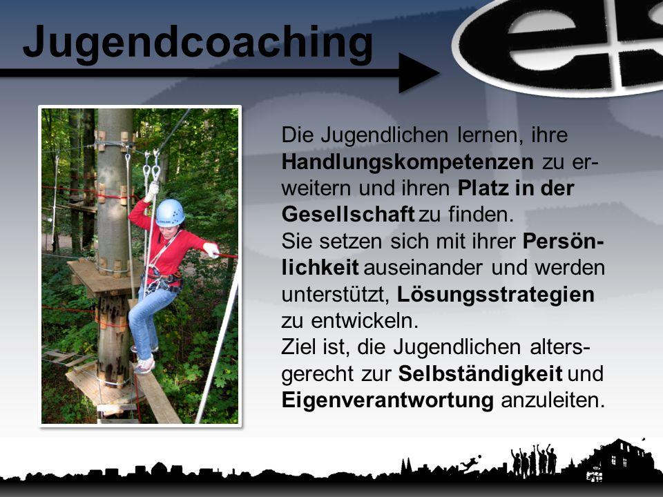 Jugendcoaching Die Jugendlichen lernen, ihre Handlungskompetenzen zu er- weitern und ihren Platz in der Gesellschaft zu finden.