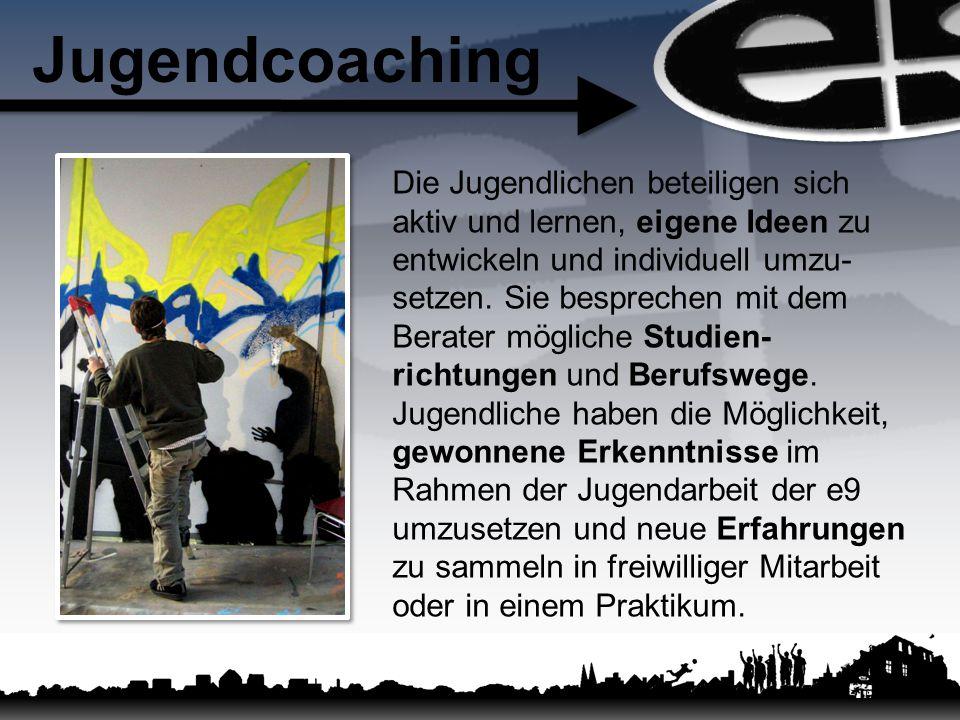 Jugendcoaching Die Jugendlichen beteiligen sich aktiv und lernen, eigene Ideen zu entwickeln und individuell umzu- setzen. Sie besprechen mit dem Bera