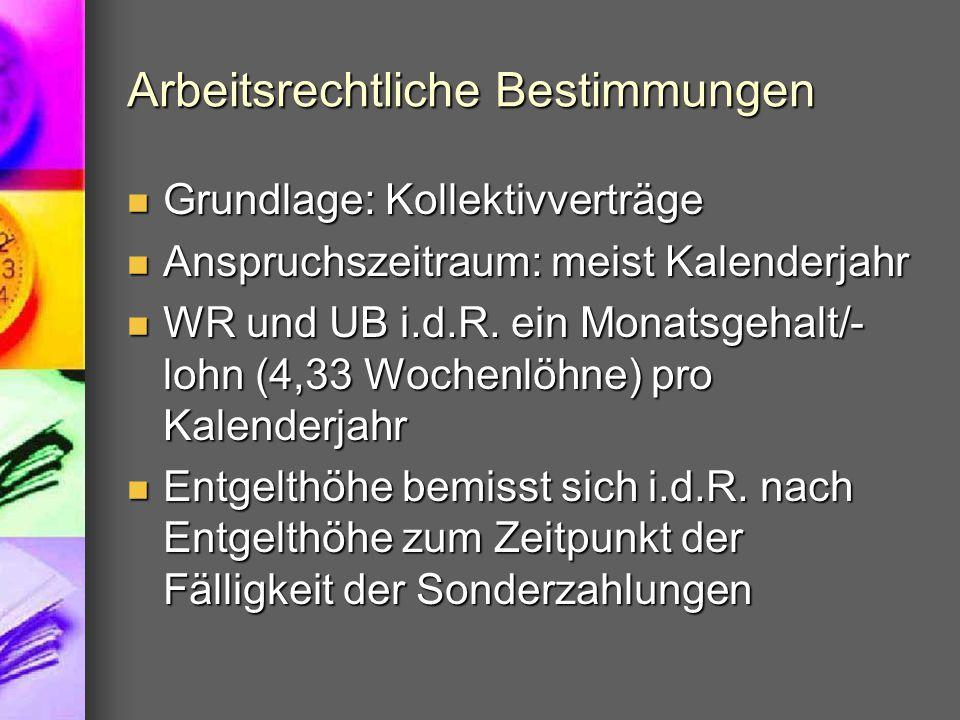 Arbeitsrechtliche Bestimmungen Grundlage: Kollektivverträge Grundlage: Kollektivverträge Anspruchszeitraum: meist Kalenderjahr Anspruchszeitraum: meist Kalenderjahr WR und UB i.d.R.