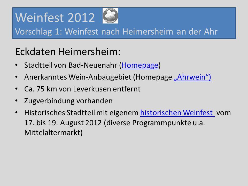 Weinfest 2012 Vorschlag 1: Weinfest nach Heimersheim an der Ahr Eckdaten Heimersheim: Stadtteil von Bad-Neuenahr (Homepage)Homepage Anerkanntes Wein-A