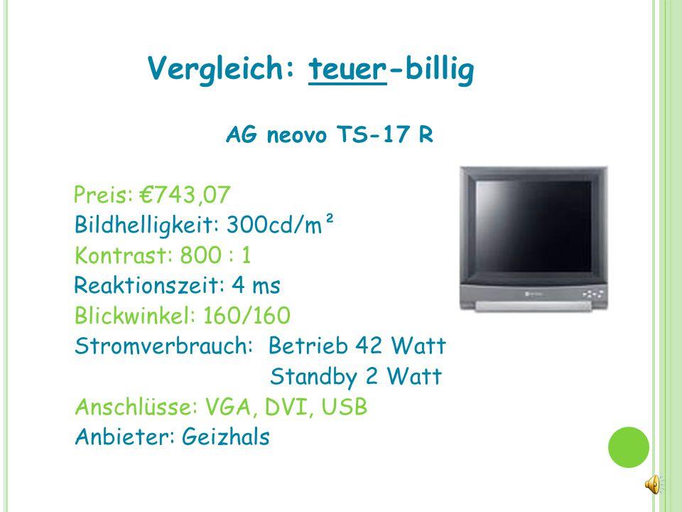 Vergleich: teuer-billig ASUS VH 196D Preis: €99,83 Bildhelligkeit: 300cd/m² Kontrast: 5000 : 1 Reaktionszeit: 5 ms Blickwinkel: 160/160 Stromverbrauch: Berieb 30 Watt Standby 1 Watt Anschlüsse: VGA Anbieter: Geizhals