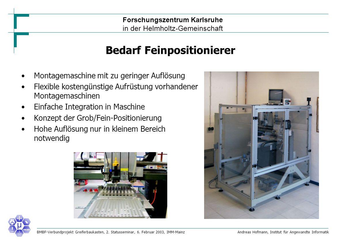 Forschungszentrum Karlsruhe in der Helmholtz-Gemeinschaft BMBF-Verbundprojekt Greiferbaukasten, 2.