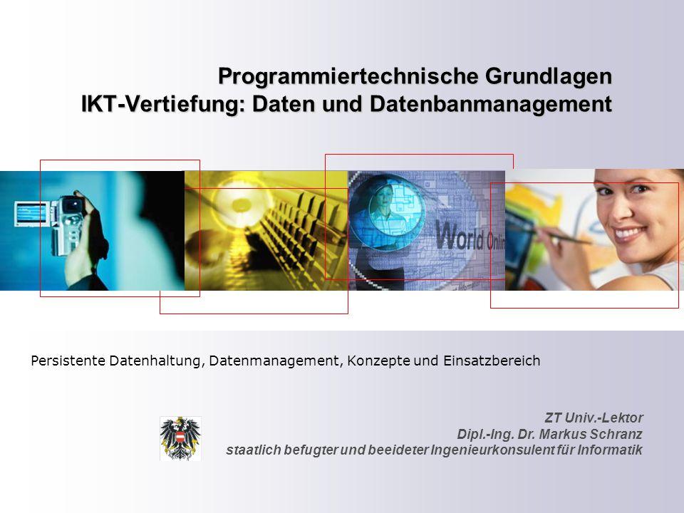 ZT Schranz Informationstechnologie KG 12 Datenbank-Komponenten Eine Datenbank gliedert sich grundsätzlich in zwei Komponenten – Die Daten an sich (Content-driven)  – Das Verwaltungswerkzeug zur Bearbeitung der Daten (Datenbankbetriebssystem, Datenbankmanagementsystem) (SW-driven) 