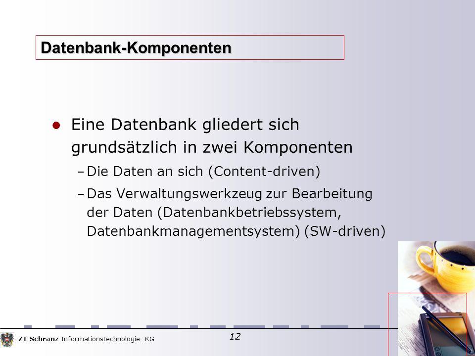 ZT Schranz Informationstechnologie KG 12 Datenbank-Komponenten Eine Datenbank gliedert sich grundsätzlich in zwei Komponenten – Die Daten an sich (Con