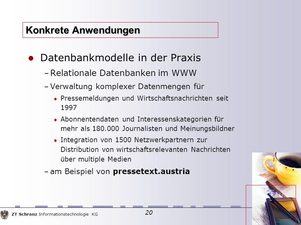 ZT Schranz Informationstechnologie KG 20 Konkrete Anwendungen Datenbankmodelle in der Praxis – Relationale Datenbanken im WWW – Verwaltung komplexer D