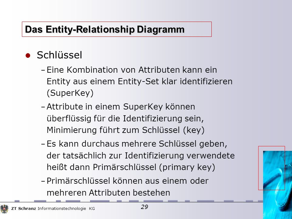 ZT Schranz Informationstechnologie KG 29 Das Entity-Relationship Diagramm Schlüssel – Eine Kombination von Attributen kann ein Entity aus einem Entity-Set klar identifizieren (SuperKey)  – Attribute in einem SuperKey können überflüssig für die Identifizierung sein, Minimierung führt zum Schlüssel (key)  – Es kann durchaus mehrere Schlüssel geben, der tatsächlich zur Identifizierung verwendete heißt dann Primärschlüssel (primary key)  – Primärschlüssel können aus einem oder mehreren Attributen bestehen