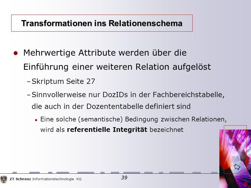 ZT Schranz Informationstechnologie KG 39 Mehrwertige Attribute werden über die Einführung einer weiteren Relation aufgelöst – Skriptum Seite 27 – Sinn