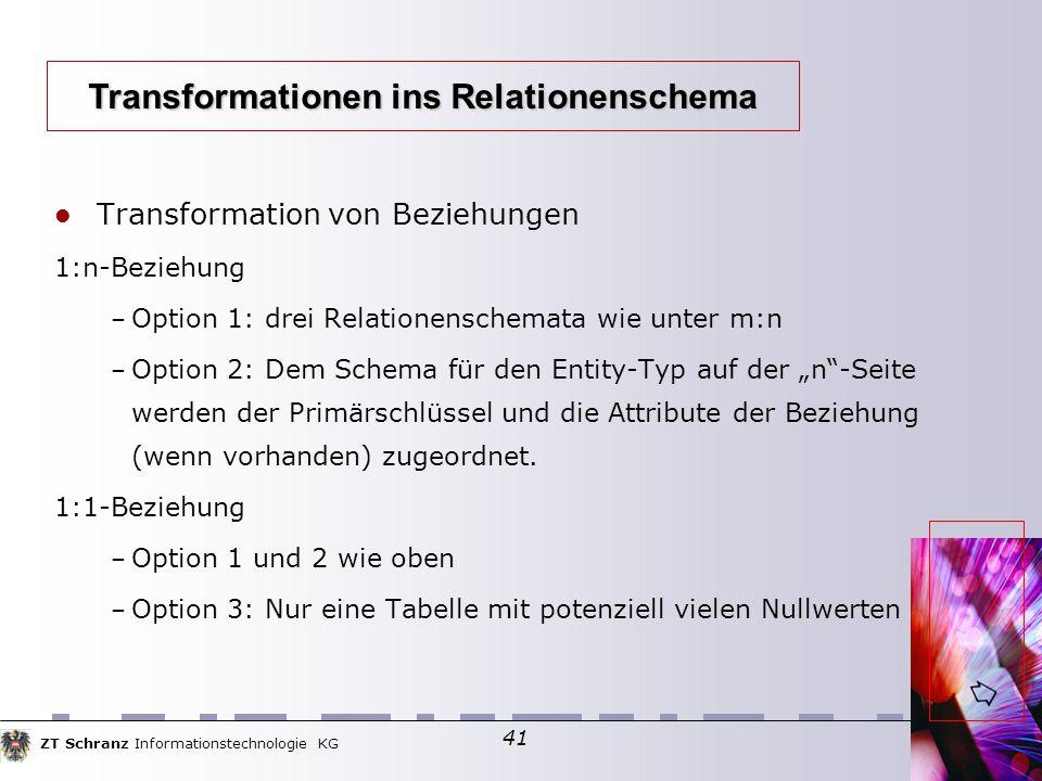 """ZT Schranz Informationstechnologie KG 41 Transformation von Beziehungen 1:n-Beziehung – Option 1: drei Relationenschemata wie unter m:n – Option 2: Dem Schema für den Entity-Typ auf der """"n -Seite werden der Primärschlüssel und die Attribute der Beziehung (wenn vorhanden) zugeordnet."""