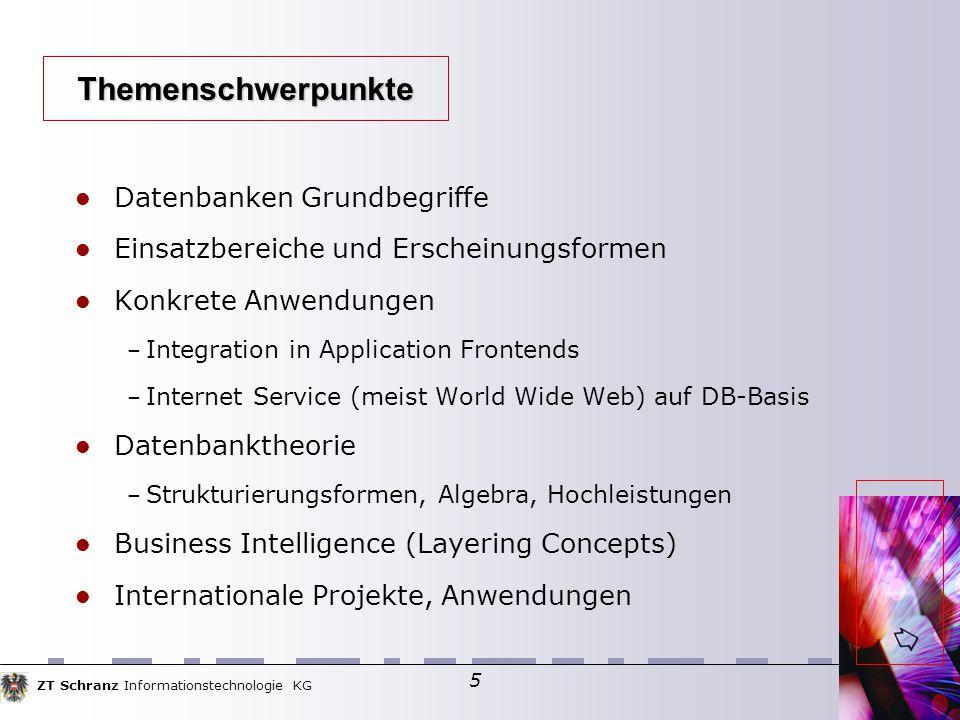 ZT Schranz Informationstechnologie KG 76 PHP und die *SQL-DB-Anbindung persistente Datenbankverbindung Bearbeiten von relationalen Datenbanken – mysql_connect – mysql_select_db – mysql_query (see dbtest.php) – mysql_fetch_row bzw.