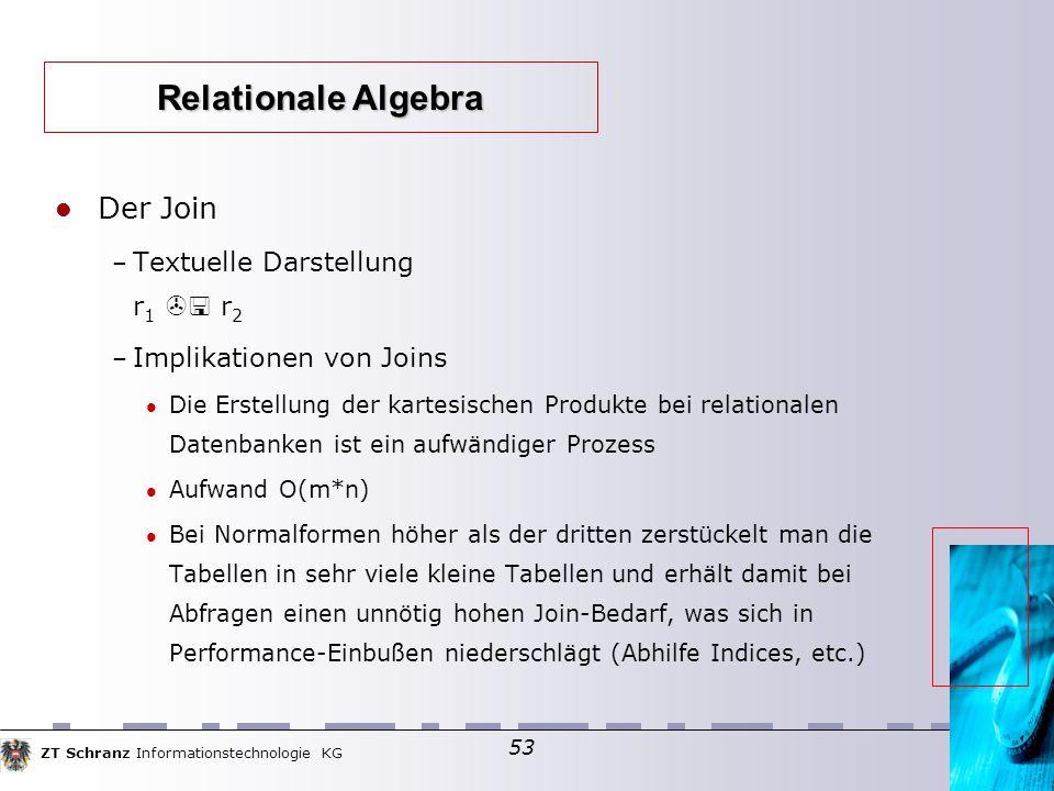 ZT Schranz Informationstechnologie KG 53 Der Join – Textuelle Darstellung r 1  r 2 – Implikationen von Joins Die Erstellung der kartesischen Produkt