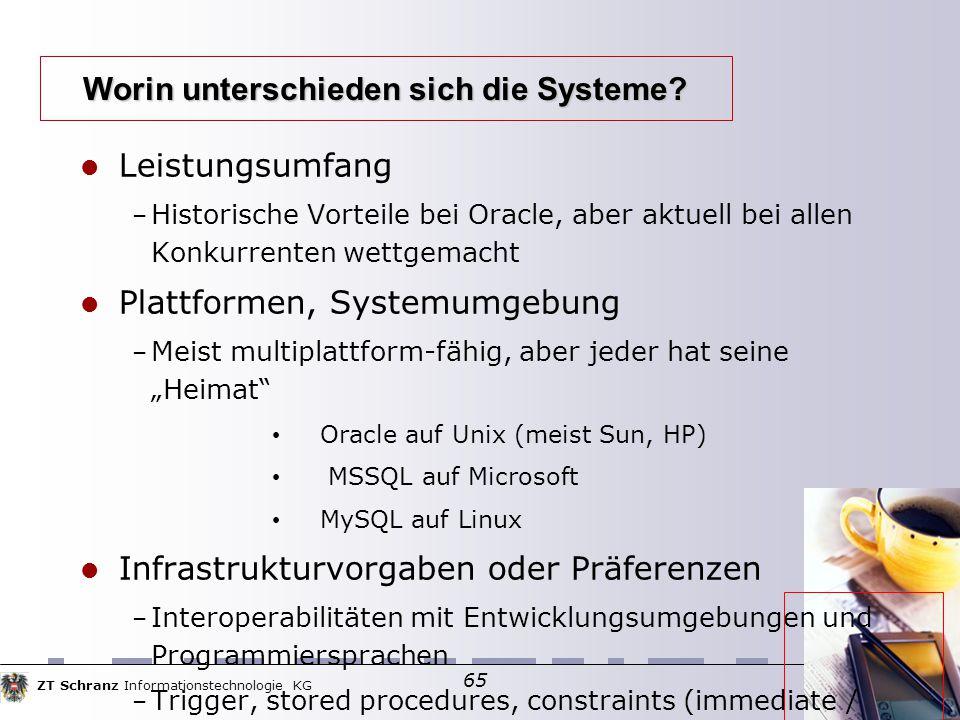 ZT Schranz Informationstechnologie KG 65 Worin unterschieden sich die Systeme? Leistungsumfang – Historische Vorteile bei Oracle, aber aktuell bei all