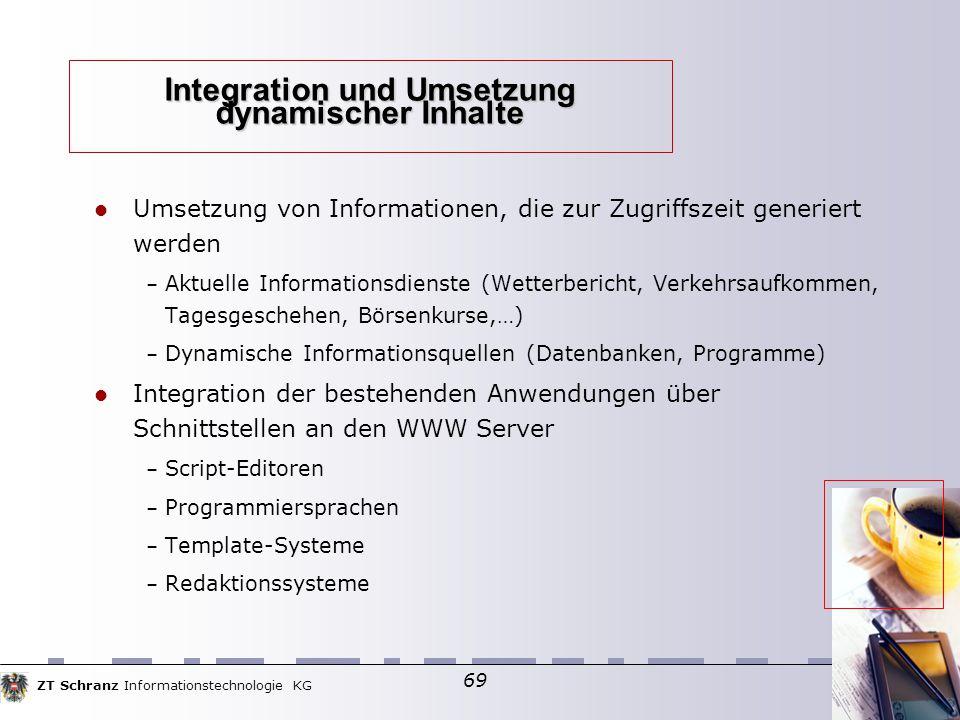 ZT Schranz Informationstechnologie KG 69 Integration und Umsetzung dynamischer Inhalte Umsetzung von Informationen, die zur Zugriffszeit generiert wer
