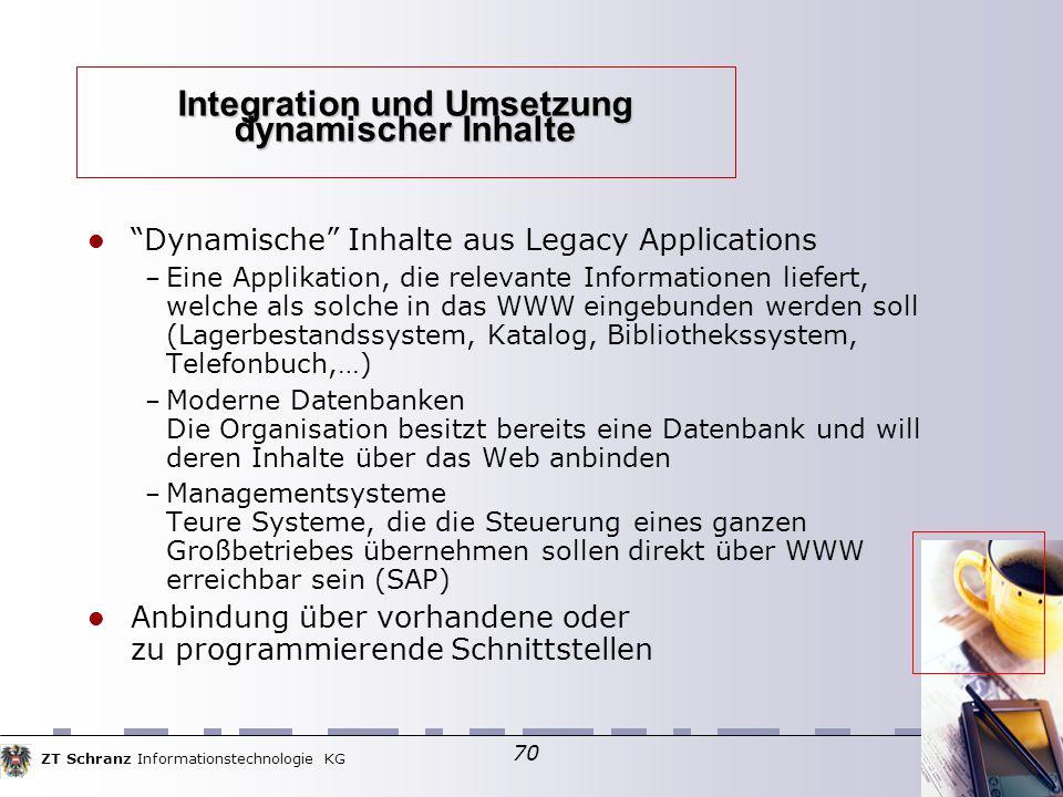 """ZT Schranz Informationstechnologie KG 70 Integration und Umsetzung dynamischer Inhalte """"Dynamische"""" Inhalte aus Legacy Applications – Eine Applikation"""