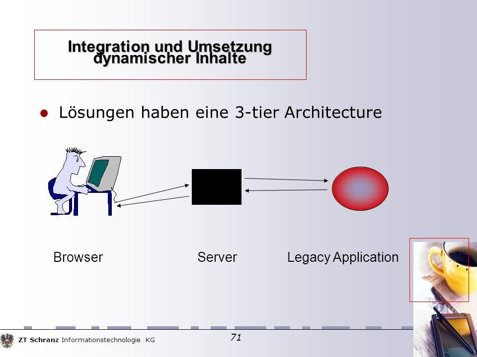 ZT Schranz Informationstechnologie KG 71 Integration und Umsetzung dynamischer Inhalte Lösungen haben eine 3-tier Architecture Browser Server Legacy Application