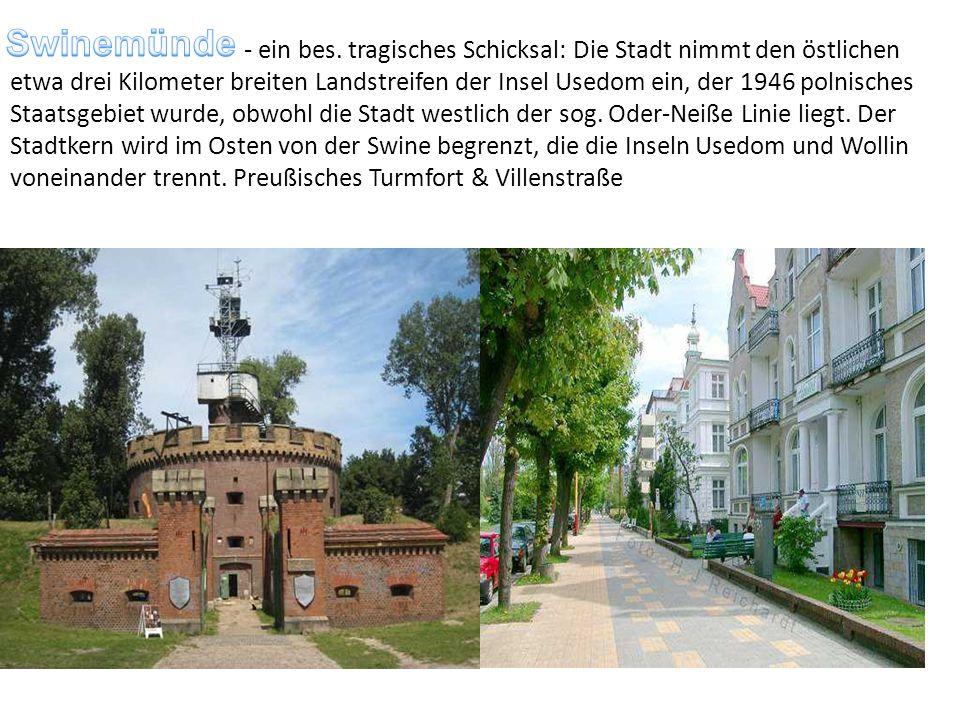 - ein bes. tragisches Schicksal: Die Stadt nimmt den östlichen etwa drei Kilometer breiten Landstreifen der Insel Usedom ein, der 1946 polnisches Staa